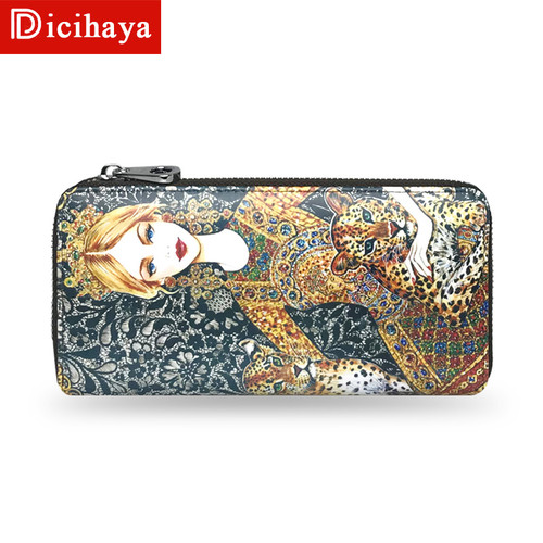 DICIHAYA Women Zipper Wallets Animal Print Wallets Genuine Leather Purse Ladies' Clutches Hand Bags Long Card Holders Phone Bag