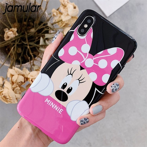 JAMULAR Cartoon Mickey Minnie Glossy Phone Case For iPhone XS MAX XR 6 6s X Plus Cute IMD Soft IMD Back Cover For iPhone 7 Shell