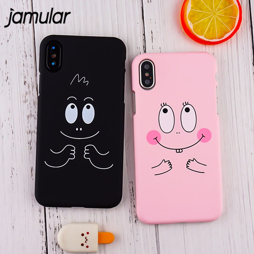 JAMULAR Cute Cartoon Laught Face Big Eye Hard PC Case Cover For iphone X For iphone 6s 6Plus 7 8 Plus 10 Coque Funda Protective