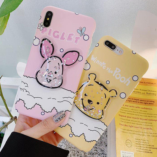 JAMULAR Cartoon Piglet Winnie Phone Case For iPhone 7 XS MAX XR X 8 6 6s Plus Bling Glitter Quicksand Back Cover For iPhone X 10