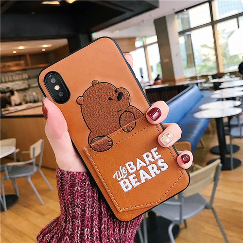 Jamular Soft PU Leather Phone Case For iPhone 7 8 6 6s Plus Cute Cartoon Bear Cover For iPhone X XS MAX XR 8 7 Plus Coque Fundas