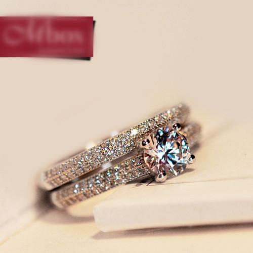 Luxury Female White Bridal Wedding Ring Set Fashion 925 Silver Filled Jewelry Promise CZ Stone Engagement Rings For Women