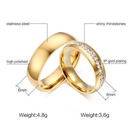 LETAPI 2019 New Fashion Gold color Stainless Steel Wedding Bands Shiny Crystal Ring for Female Male Jewelry 6mm Engagement Ring