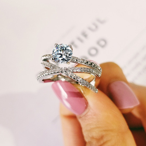 925 sterling silver 2019 new design cross fashion engagement wedding ring for women girl anniversary gift jewelry R5032
