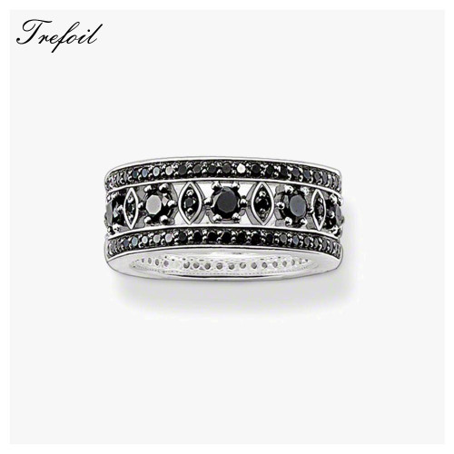 Black CZ Ornament Wedding Bands Rings, 925 Sterling Silver Zircon Pave Fashion Jewelry Trendy Gift For Women and Men Alliance