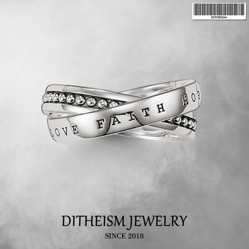 Faith Hope Love Wedding Bands Rings, 2018 New 925 Sterling Silver Fashion Jewelry Trendy Gift For Women and Men