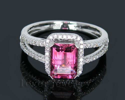 Vintage New&Amazing! 1.98Ct Solid 18K White Gold Diamond Pink Tourmaline Wedding Ring
