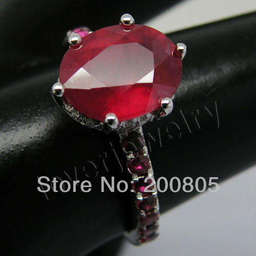 Hot Selling Vintage Oval 8x10mm Solid 14kt White Gold Diamond Wedding Red Ruby Ring SR150H