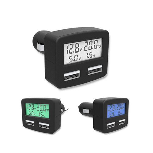 Alloet Universal 5 in 1 3A Dual USB Car Phone Charger, DC 5V Car Phone USB Charger LCD Display Temperature voltage current Meter