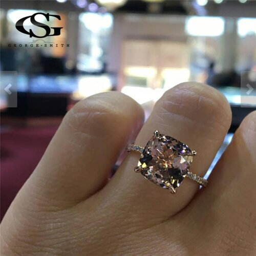 GS Luxury Austrian Crystal Wedding Rings For Women Cubic Zirconia Rose Gold Color Champagne Ring Girl Gift Jewelry Drop Ship R5B