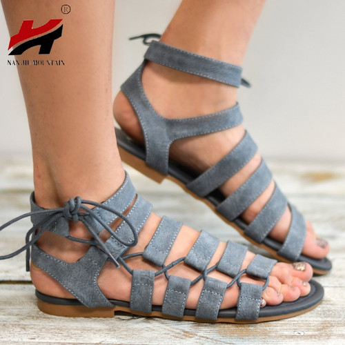 New Summer Women's Shoes Flat Shoes Comfortable Roman Sandals Size 34-43