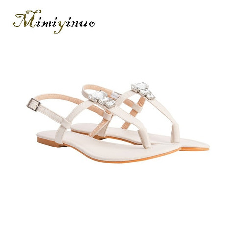 sandales femme 2019 woman shoes with Crystal decoration New Style shoes woman sandals Ladies Flat Heel summer shoes flip flops