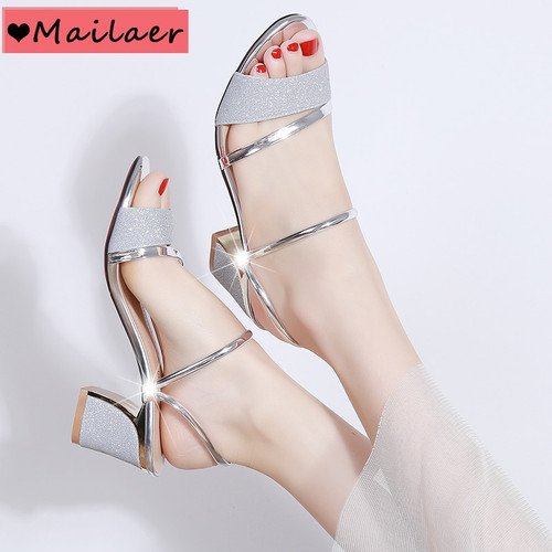 2019 New Summer women flat Sandals shoes women Square heel Sandalias Buckle Sandals High Heels Strap Sandals