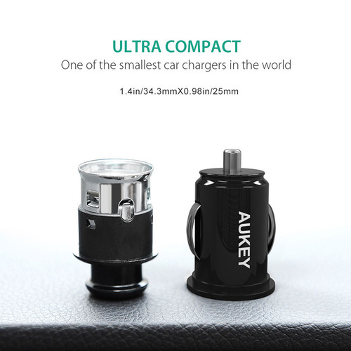 AUKEY USB Car Charger Universal Car-Charger 4.8A Dual Port Charger Mini USB Adapter Car Charging for iPhone 8/7/6s Xiaomi Huawei