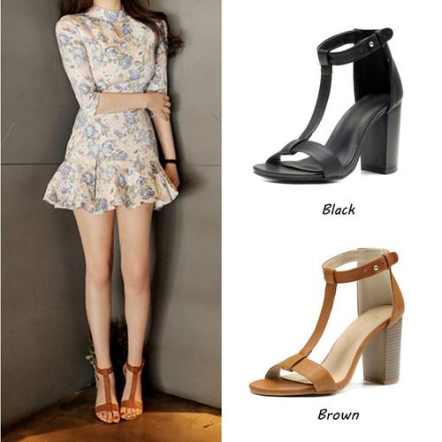 JINJOE Rubbing sandals Rome shoes Women Shoes Sandals Summer Ankle Wrap Sandals High Heels Chunky High Heel Work Shoes