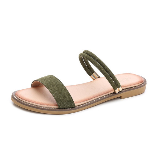 Women's faux Leather Open Toe and Ankle Strap Buckle Flat Sandals