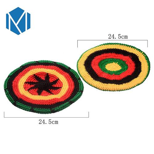 Miya Mona Men's Winter Hat Wig Braid Jamaican Bob Marley Rasta Multicolor Headwear Striped Cappello Beanie Hip hop knit cap