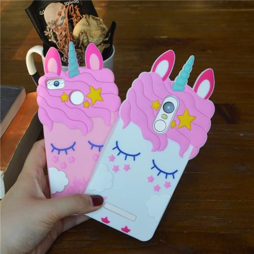 Fashion 3D Cartoon Pink Unicorn Soft Silicone Case For Xiaomi Redmi 3S 4A 4X 5A Cases For Xiaomi Redmi Note 3 Note 4 Note 4X