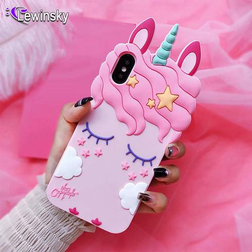 3D Fashion Cartoon Pink Unicorn Soft Silicone Case For Samsung Galaxy S7 S8 S9 Plus J3 J5 J7 2016 2017 G530 J6 A8 A6 2018 Cover