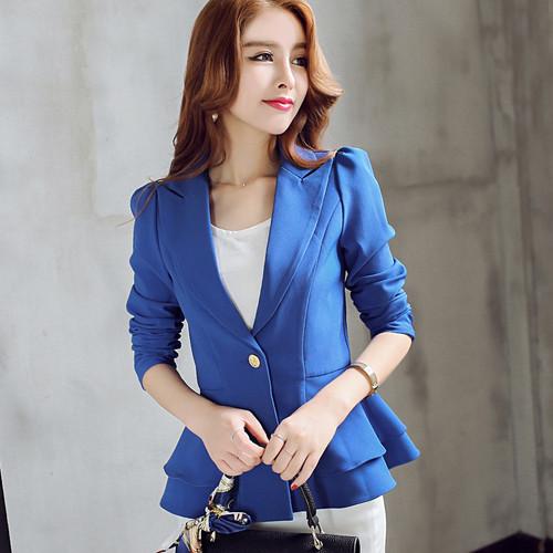 Ladies Blazers New Fashion Single Button Blazer Women Suit Jacket Black /bule/pink Blaser Female Plus Size Blazer Femme