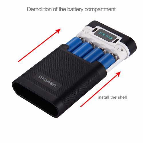 HAWEEL DIY 4x18650 Battery Portable 10000mAh Power Bank Box Shell with 2xUSB Output&Display for iPhone,Galaxy without Battery 5V