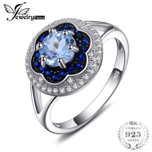 Jewelrypalace Spark Flower 1ct Genuine Sky Blue Topaz Created Blue Spinel Cluster Halo Rings 925 Sterling Silver Gifts For Mom