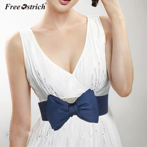 Free Ostrich Bow Wide Women Lady 2019 Bowknot Stretch Elastic Stretch Buckle Waistband Waist Belt New Arrival N20