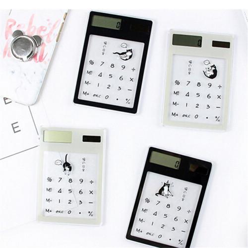 Solar Mini Transparent Office Student Calculator for Mathematics Portble Scientific Mini Calculators Mini Solar Calculators