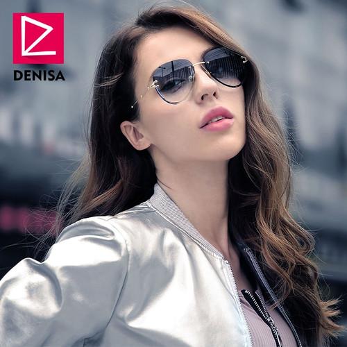 DENISA Fashion Blue Red Aviation Sunglasses Women Men Shades UV400 Sun Glasses Luxury Rimless Glasses For Zonnebril Dames G18475