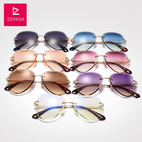 DENISA Fashion Blue Red Aviation Sunglasses Women Men Shades UV400 Sun Glasses Luxury Rimless Glasses For Zonnebril Dames G18475