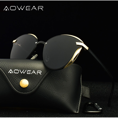AOWEAR Fashion Cat Eye Sunglasses Women Polarized Luxury Quality Mirror Cateye Sun Glasses Ladies UV400 Eye Protective Shades