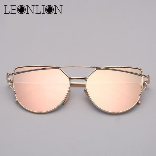 LeonLion Brand Designer Cat eye Sunglasses Women Vintage Metal Reflective Glasses For Women Mirror Retro Oculos De Sol Gafas