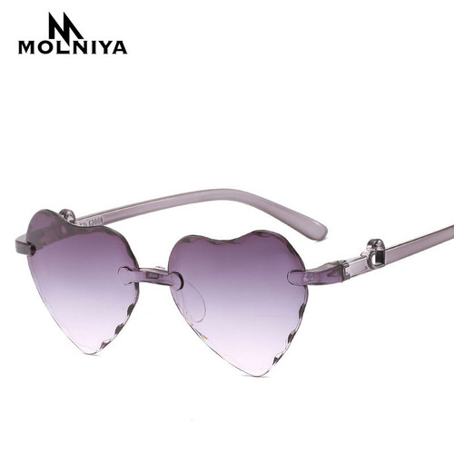 New Girl Love Heart Shape Sunglasses Child Siamese Frame Colorful Sun Glasses Tint Clear Lens Blue Red Pink Shades