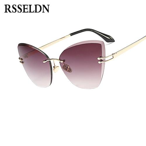 RSSELDN Fashion Rimless Cat Eye Sunglasses Women Brand Designer Clear Lens Gradient Sun Glasses Female UV400 High Quality Metal