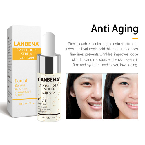 LANBENA 24K Gold Six Peptides Serum Vitamin C+Hyaluronic Acid Anti-Aging Face Cream Acne Moisturizing Whitening Skin Care 6PCS