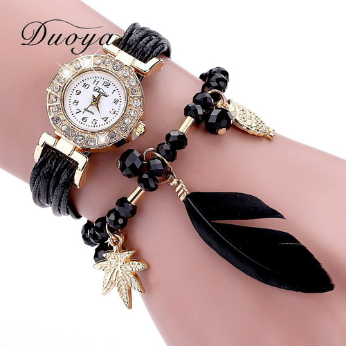 Duoya Brand Quartz Watches Women Fashion Feather Pendant Luxury Bracelet Wristwatch Women Dress Ladies Leather Strap Gold Watch