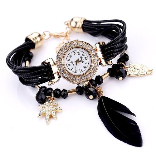 Duoya Brand Quartz Watches Women Fashion Feather Pendant Luxury Bracelet Wristwatch Women Dress Ladies Leather Strap Gold Watch