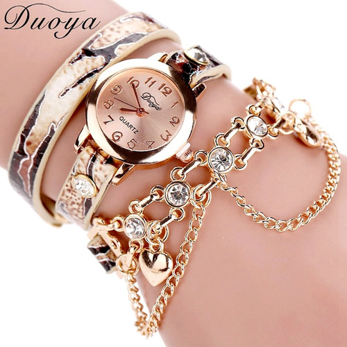 Duoya Brand Watch Women Leopard Luxury Band Bracelet Quartz Braided Winding Wrap Beige Long Chain Female WristWatch