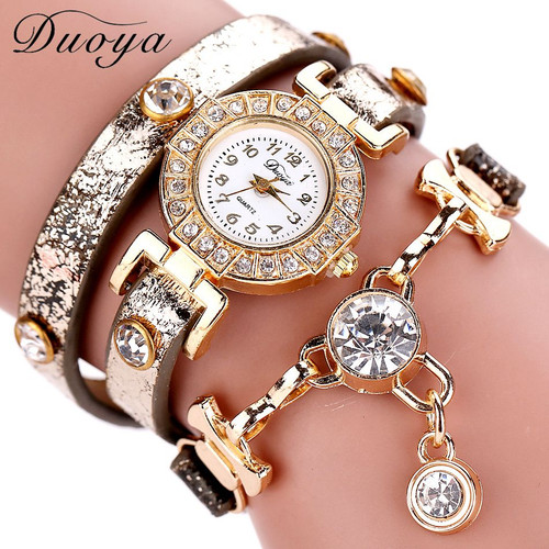 Duoya Women Watches Gemstone New Luxury Bracelet Watches Dress Women Dress Fashion Long Chain Casual Wristwatch Dropshipping
