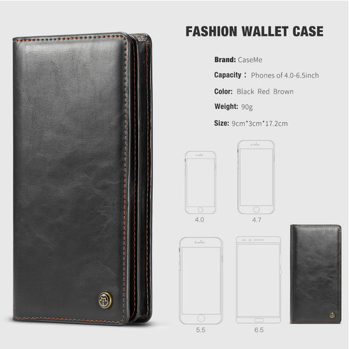 CaseMe Case For Xiaomi 6X MAX 2S 8 SE Wallet Leather Universal Phone Bag For Redmi Note 5 6A 4.0 to 6.5 inch All Mobile Phone