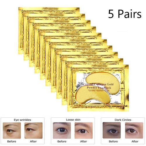 24k Gold Crystal Collagen Eye Mask Anti Aging/Dark Circles/Puffiness Moisturizing Eye Masks Colageno Gel Eye Pads