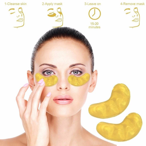 10Pcs=5Packs 24k Gold Crystal Collagen Eye Mask Anti Aging/Dark Circles/Puffiness Moisturizing Eye Masks Colageno Gel Eye Pads