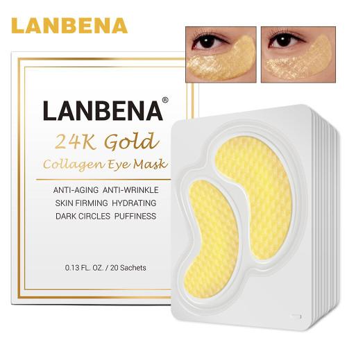 LANBENA 24K Gold Crystal Eye Mask Collagen Anti-Aging Wrinkle Skin Firming Dark Circles Puffiness Bag Sleep Eye Patch 20Pair