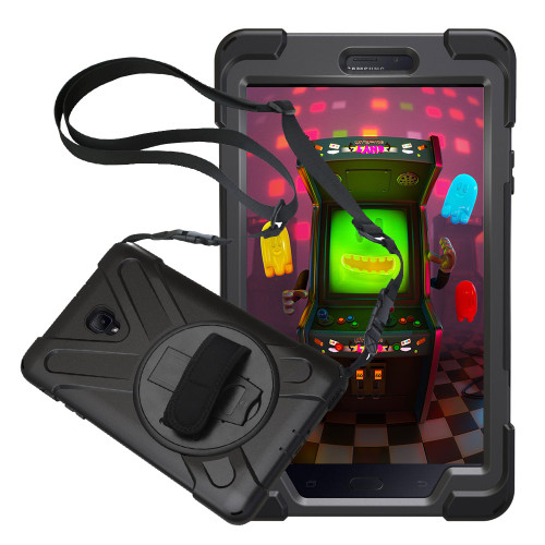 For Samsung Galaxy Tab A 8.0 2017 T380/T385 Pirate Tablet Case Cover Silicone+PC Kickstand Hard Case With Wrist + Shoulder Strap