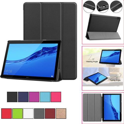 Silicone Case For Huawei Mediapad T5 10in Smart Magnetic Trifold Leather Flip Case Stand Cover For Huawei Mediapad T5 10in#G4