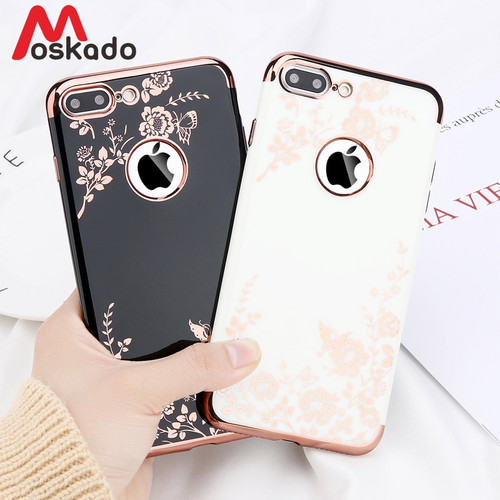 Moskado Plating Rose Gold Phone Case For iphone X 7 6 6S Plus XR XS Max Case Soft TPU Back Cover Black White Luxury Flower Sheel