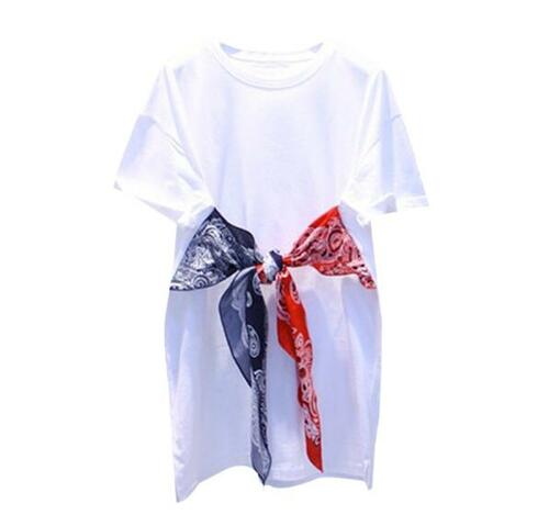 2018 Summer New Women's Bow Knot Stitching Solid Color Medium Long T-shirt Girls' Short Sleeves Loose Students Tops Shirts
