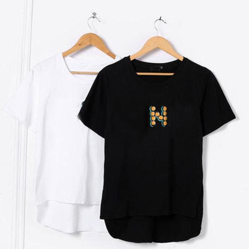 2019 New Fashion Brand Cotton T-shirt Rivet T-shirt Women Summer T-shirt KZ0429-4