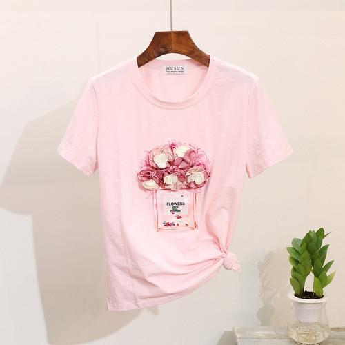 2019 Spring Summer Women t shirt short-sleeve 3D floral bottle tshirt cotton tops