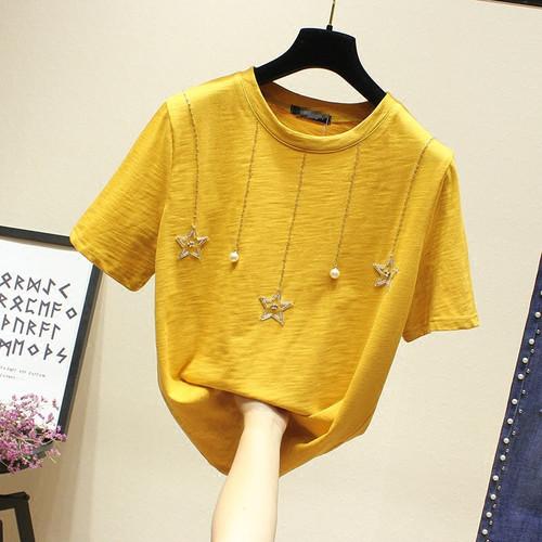 2018 Summer women t shirt beading star loose tshirt cotton tops